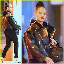 rihanna hoop earrings rihanna wears hoop earrings with leather jacket