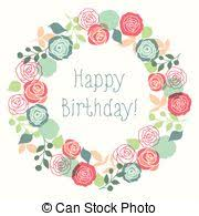 stock illustration of happy 40th birthday card with beautiful