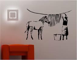 banksy wall stickers ebay banksy style zebra washing wall art sticker vinyl quote graffiti lounge kitchen