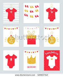 Christmas Baby Shower Invitations - baby body suits clothes on hangers stock vector 456075445