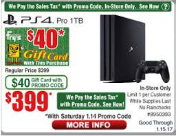ps4 gift card ps4 pro 399 00 including tax 40 00 gift card at frys with