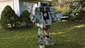 father son mechwarrior costume is beyond mechadorable cnet