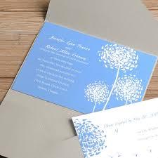 light blue wedding invitations baby blue wedding invitations light blue dandelion silver pocket