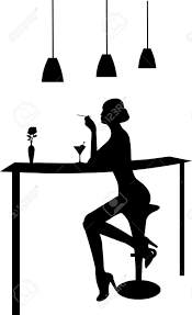martini vector drinking martini and smoking a cigarette in a bar silhouette