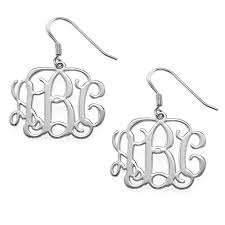 monogram earrings silver monogram earrings mynamenecklace