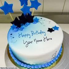 write blue stars birthday cake happy birthday cake
