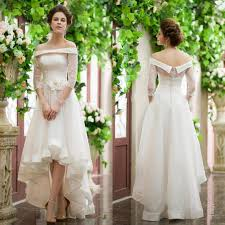 fashion 3 4 sleeve high low wedding dresses lace ball long off