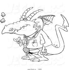 vector of a cartoon doctor dragon outlined coloring page by