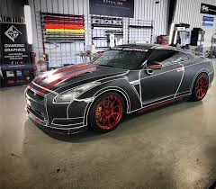 nissan gtr matte black and red diamond graphics vinyl wrap specialists home services