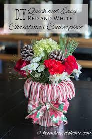Easy Christmas Centerpiece - how to make a cheap and easy candy cane christmas centerpiece