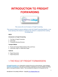 introduction to freight forwarding pdf intermodal freight