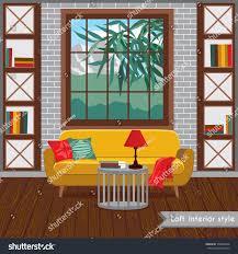 interior living room loft style vector stock vector 700845448