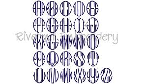letter monogram oval 3 letter monogram machine embroidery font