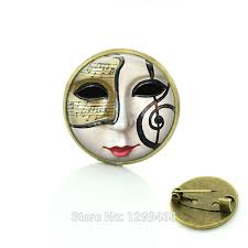 mardi gras pins mardi gras mask glass cabochon dome pin vintage brooches