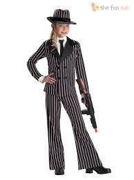 halloween costumes girls kids girls gangster 1920s pinstripe suit fancy dress costume bugsy kids
