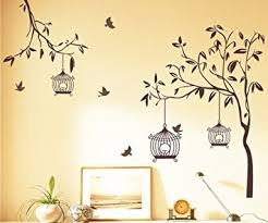 Buy Decals Design Tree With Birds And Cages Wall Sticker PVC - Design a wall sticker
