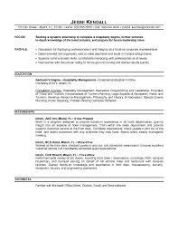 free hospitality intern resume example