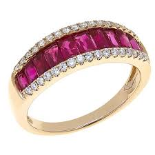 ruby band 14k yellow gold 1 67ctw ruby and diamond band ring 8391036 hsn