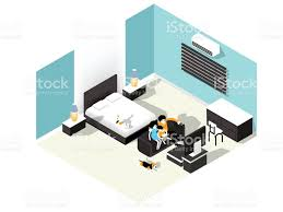 isometric illustration vector of family watching tv in bedroom