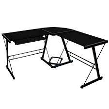 Black Glass L Shaped Desk Manager Left Return L Shape Melamine Desk Black L Shaped