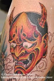 half sleeve japanese hannya mask tattoo design photos pictures