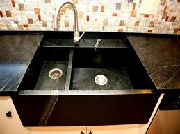 kitchen interior black marble square undermount kitchen sink