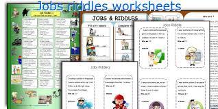 english teaching worksheets jobs riddles