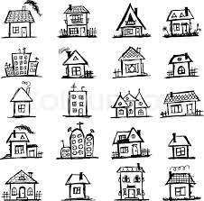 sketch of art houses for your design stock vector colourbox