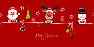 snowman santa with reindeer red christmas background vector