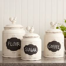 furniture white ceramic kitchen canister sets 3 pieces for