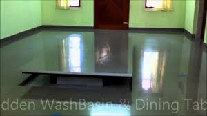 Hidden Dining Table Cabinet Hidden Wash Basin U0026 Dining Table Youtube
