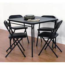5 piece card table set mainstays 5 piece card table and chair set black walmart com