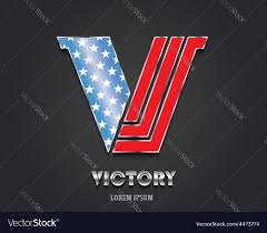Design Of American Flag Letter V From Alphabet In Color Of American Flag Vector Image