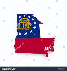 Ga State Flags Georgia State Flag On 3d Map Stockillustration 121188070