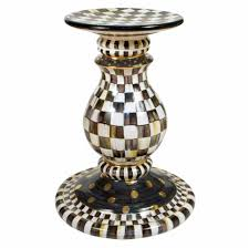 Pedestal Table Bases Mackenzie Childs Pedestal Table Base In Courtly Check