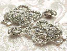 Bridal Chandelier Earrings Hand Crafted Custom Lace Bridal Chandelier Earrings With