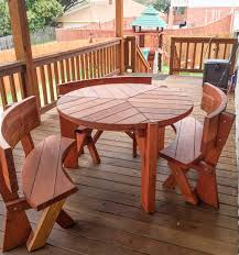 Round Redwood Picnic Table by Lisa U0027s Round Dining Table Built To Last Decades Forever Redwood