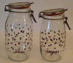 vintage glass canisters kitchen set of 2 vintage glass canister storage jars 2l u0026 1 5l red u0026 blue