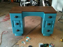 turquoise refinished desk painted stained refurbished two tone
