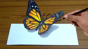 how to draw 3d butterfly in simple way anamorphic illusion 3d