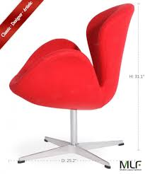 Red Leather Swivel Chair by Arne Jacobsen Swan Chair Mlf