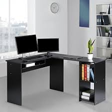 corner computer desk with keyboard tray amazon com langria l shaped corner computer desk home office work