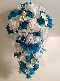 Artificial Flower Bouquets Malibu Turquoise White Silk Flower Wedding Bridal Bouquet Cascade