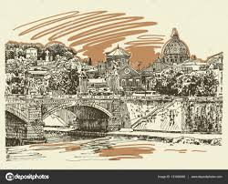 original sketch drawing rome italy cityscape type of bridge
