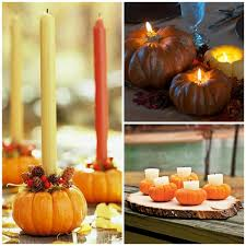 Candle Holders Decorated With Flowers Easy Pumpkin Centerpieces And Fall Decorating Ideas