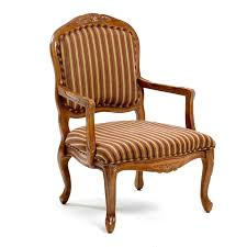 furniture brown wooden chair with arm using brown striped