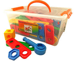 nuts and bolts building toy for toddlers with tool box storage