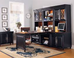 Engaging Home Office Decoration Using Dark Brown Black Wood