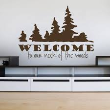 quote home country welcome to the woods pattern wall sticker decals country quotes