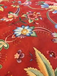 Tropical Home Decor Fabric Red Floral Upholstery Fabric 1 2 Yd Jacobean Fabric Tropical